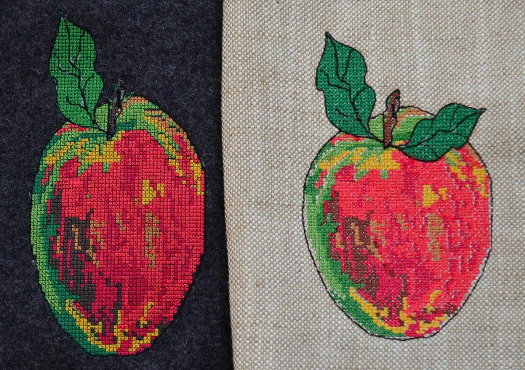 Apfel-mit-Kreuzstich-erste-und-zweite-Version-Freebie-Stickdatei